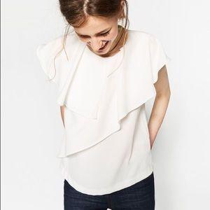 NWT Zara White Flare Top